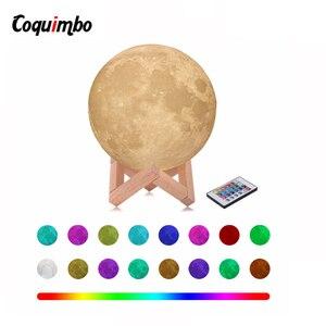 Image 1 - 3D ירח מנורת מגע חיישן/שלט רחוק חידוש LED לילה אור Luminaria Lua 3D ירח אור עבור תינוק ילדים שינה בית תפאורה
