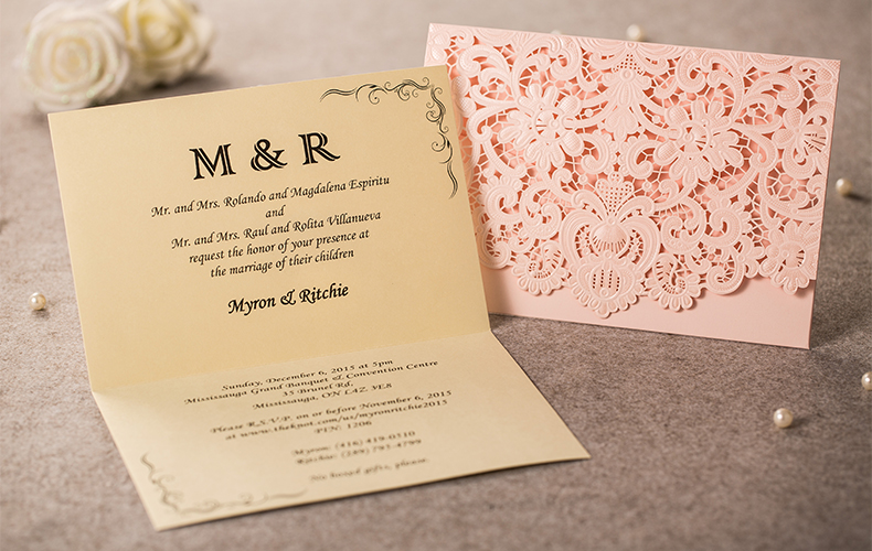 1pcs Sle Elegant Laser Cut Personalized Wedding Invitations Card Envelopes Inner Party Supplies