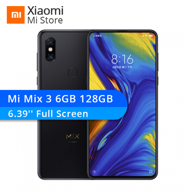 "New Xiaomi Mi Mix 3 6GB RAM 128GB ROM Snapdragon 845 Octa Core 24MP Front Camera 6.39"" 19.5:9 Full Screen Smartphone"