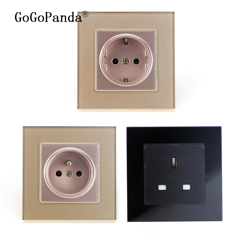 Free Shipping EU France UK Socket Crystal Glass Switch 2 Pin Wall Plug Socket Tempered Crystal Glass Panel 110-250V 50/60Hz uk standard wall mounting hole socket ac 110 250v 10a us uk eu au plug tempered glass panel wall outlet