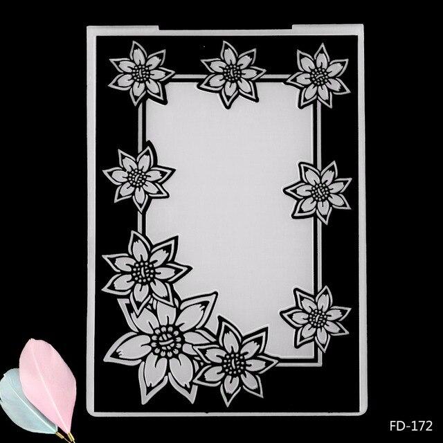 Beautiful Flowers Frame Plastic Embossing Folder For Scrapbooking
