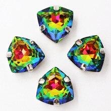 12 мм 20 шт./пакет жира Кристалл треугольной формы, семь цветов, высокого качества Стекло с украшением в виде кристаллов на горном хрустале Стразы diy/аксессуары