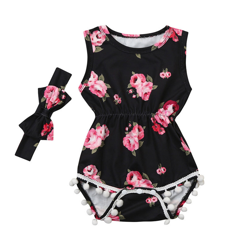 2018 ARLONEET 2Pcs Baby Girls Infant Floral Tassel Jumpsuit Romper+Headband Set Clothes Baby Girl Summer Clothes New Born Baby newborn infant baby girl little sister romper pants headband outfits set clothes children infant girls sister clothing set 2pcs