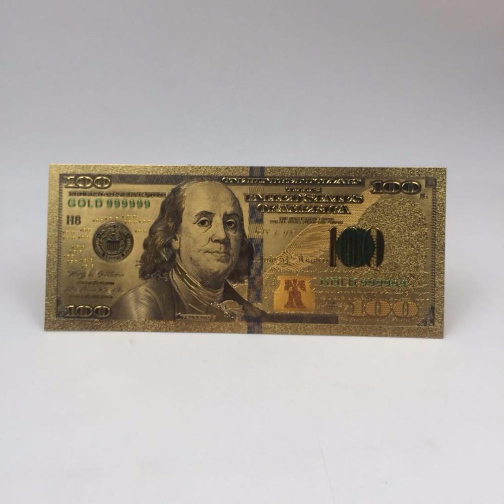 1pc Kelin fornecimento à prova d água e durável 24k Banhado A Ouro Banknote Lembrança valiosa USD 100 Dólares de Dinheiro Presentes