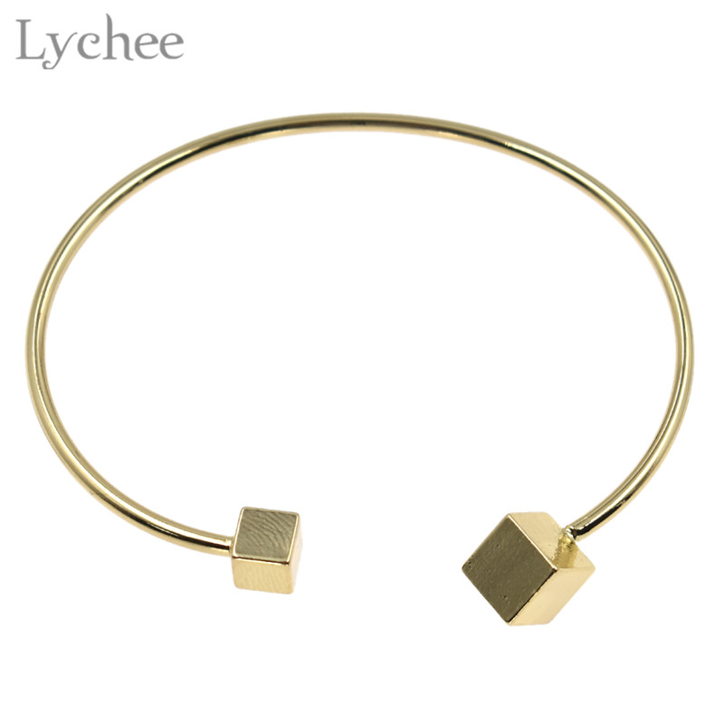 Obliging Lychee Trendy Alloy Cube Open Bangle Female Square Gold Color Silver Color Women Bangle Bracelet Elegant Jewelry Street Price Bangles Jewelry & Accessories