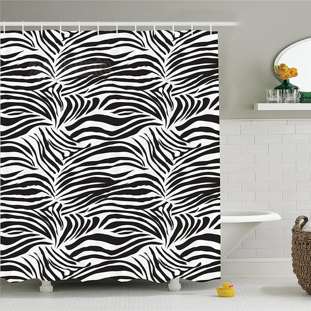 Zebra Print Decor Shower Curtain Set Striped Animal Nature Wildlife Inspired Fashion Simple Illustration Bathroom