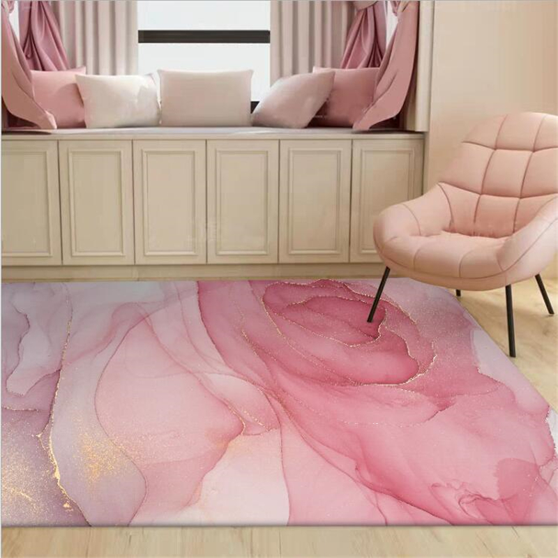 AOVOLL Carpets For Living Room Bedroom Rug Modern Beautiful Abstract Watercolor Pink Gold Purple Mat Rugs For Children Rooms