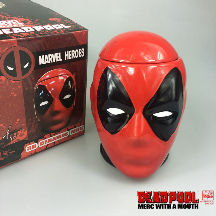 2016 new marvel heroes deadpool 3D ceramic mug and milk mug cool novelty water bottle with lid great gift for christmas