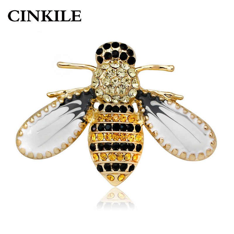 13dbe9cf99ece CINKILE Rhinestone Bee Brooches for Women Enamel Insect Pins Fashion Small  Autumn Corsage Jeans Accessories Backpack Badges Gift