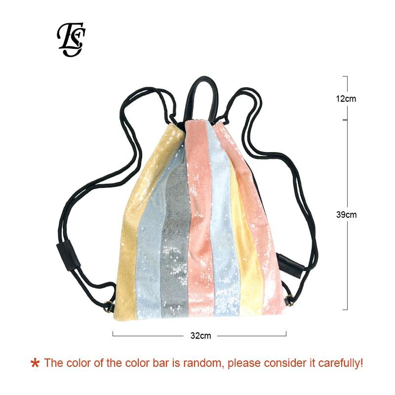 E. SHUNFA marke neue ankunft regenbogen weibliche rucksack mode perlen multicolor casual INS heißer verkauf seil frau rucksack-in Rucksäcke aus Gepäck & Taschen bei  Gruppe 2