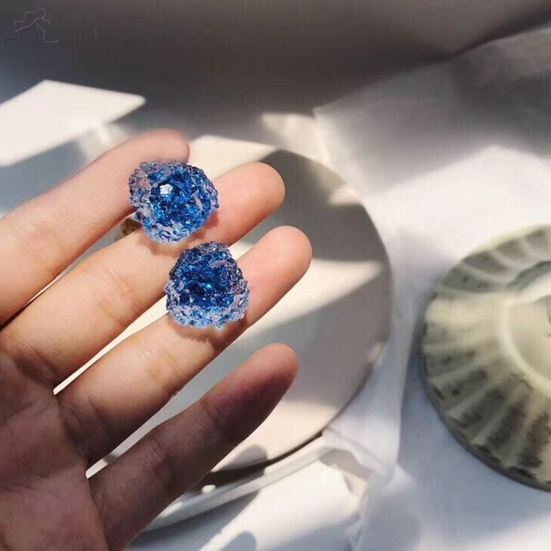 AOMU New Candy Colors Transparent Irregular Acrylic Stud Earrings Ice Cubes Summer Holiday Jewelry For Women Girl