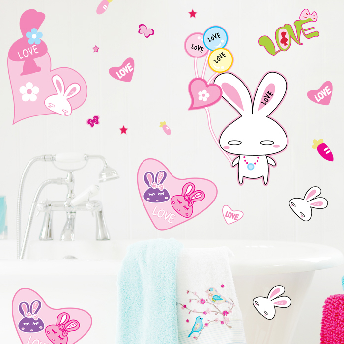 Cute Rabbit Cartoon wall stickers Laptop refrigerator Wardrobe Wall Stickers Home Decor,Living Room Vinyl Removable Stickers