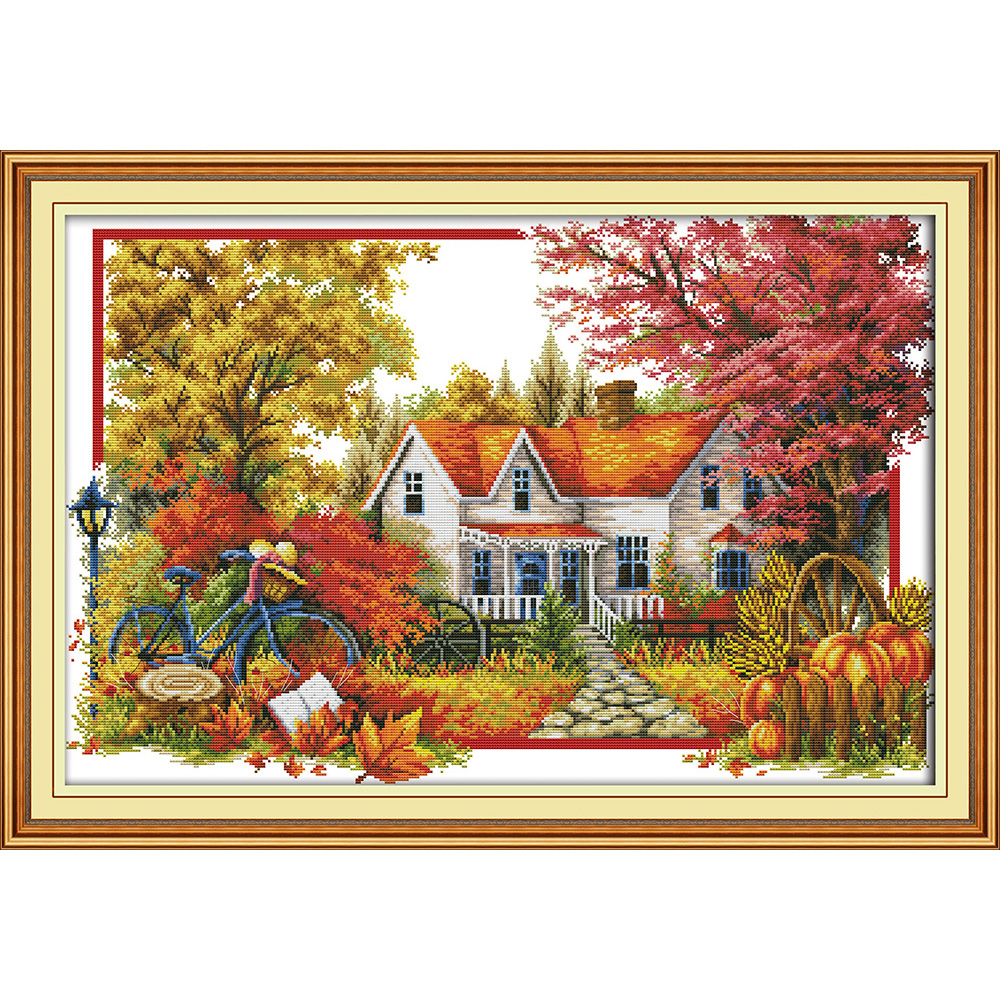 Everlasting love The autumn house Chinese cross stitch kits Ecological cotton stamped 11C DIY gift new year decorations for home