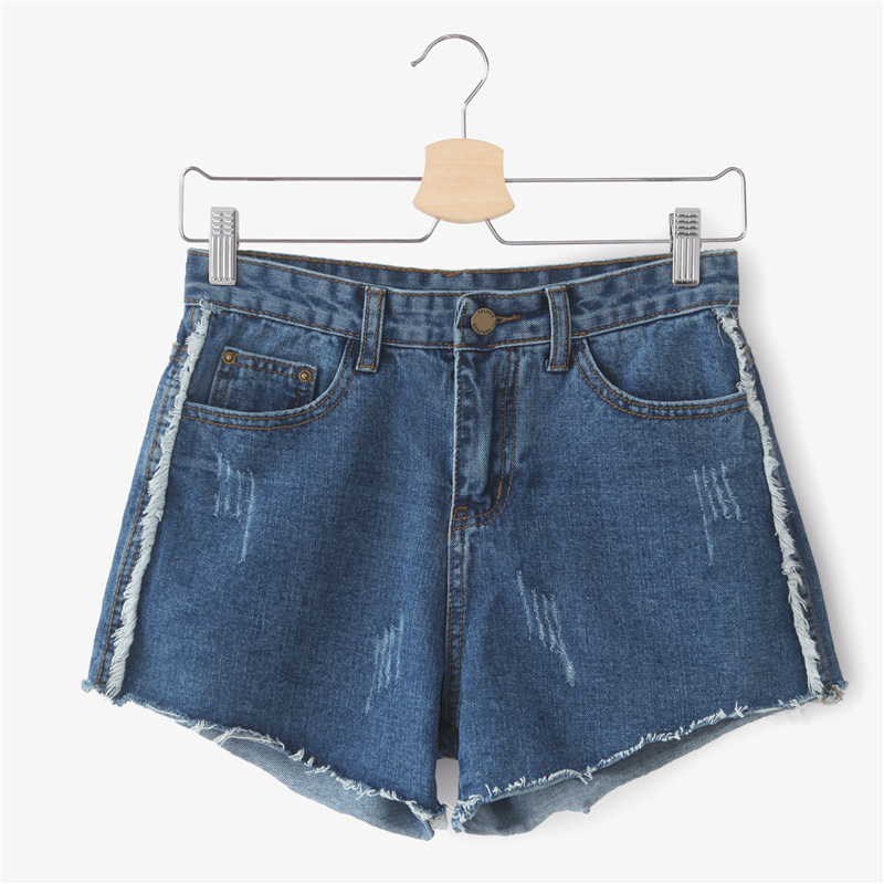 2017 spring and summer models of double-pocket jeans loose grip pattern burr high waist was thin denim shorts female