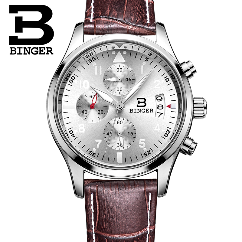 Binger White Gold Watches Top Brand Luxury Men Full Steel Watches Chronograph 6 Hands 24 Hours Military Watch Relogio Masculino skone chronograph 6 hands 24 hours function men sport watch silicone luxury watch men top brand military watch auto date relogio
