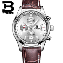 Binger White Gold Watches Top Brand Luxury Men Full Steel Watches Chronograph 6 Hands 24 Hours Military Watch Relogio Masculino