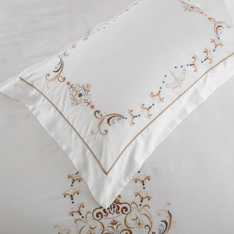 Cotton High Quality satin Luxury white 100 Long staple cotton Embroidery bedding set duvet cover sheet King Queen size 6pcs in Bedding Sets from Home Garden