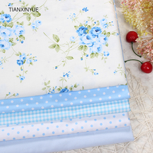 TIANXINYUE 5pcs 40cmx50cm Blue Rose flower Printed cotton fabric for quilting patchwork tecido tela clothing bedding tissus