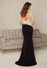 Langarm Abendkleid Schwarz Chiffon Rock Appliques Nixe-langes Elegante Plus Größe Abendkleider Perlen Prom Kleider 2016