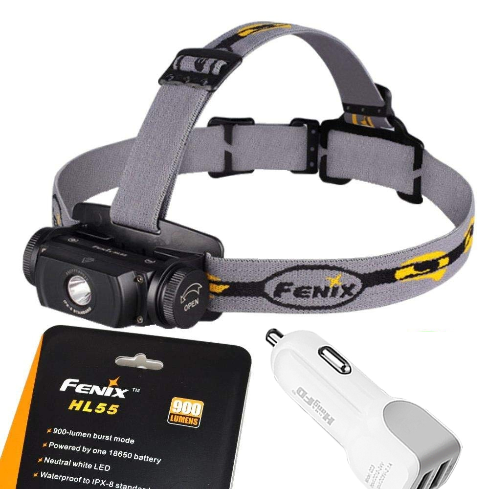 цена на Fenix Flashlights HL55 900 Lumen CREE XM-L2 T6 LED Headlamp with car charger
