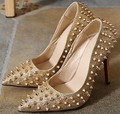 Size 4~9 Sexy Golden High Heels Women Pumps 2016 Top Rivets Cool Princess Women Shoes zapatos mujer (Check Foot Length)