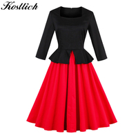 Kostlich Fake Two Piece Autumn Dress Women Long Sleeve Square Collar Hepburn 1950s Vintage Dress Elegant