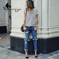 WomensDate 2016 New Fashion Summer Women 's Selling Hot Models Stripe Sexy Wild Short Sleeved O-Neck T-Shirt