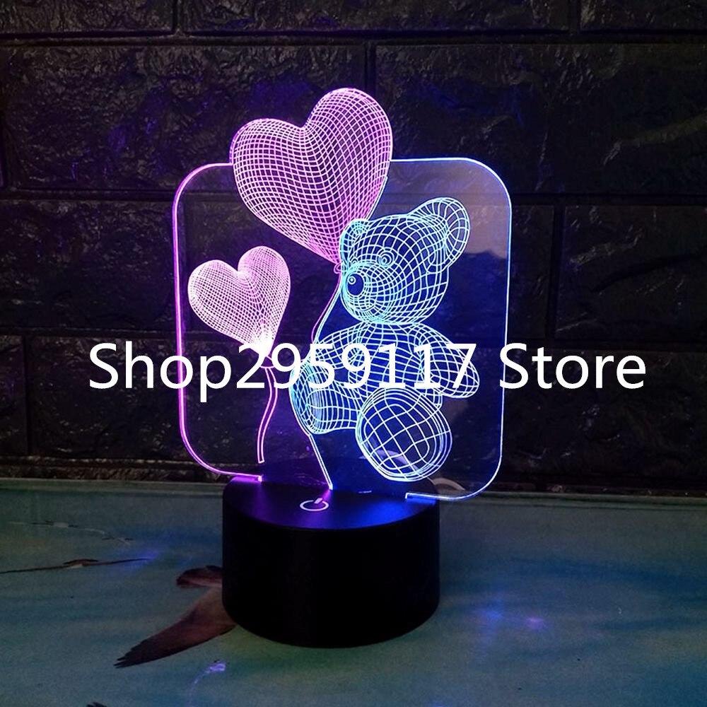 Новый 3D ночник двойной Цвет посмотреть медведь 3D лампа 7 цветов изменить сенсорный выключатель USB Настольный светильник малыш Спальня lighing р...