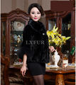 Luxurious Womens Pieces Mink Fur Coat Parka with Rex Rabbit Fur Sleeve Fox Fur Cuff Graceful Winter Black Short Outwear LX00116