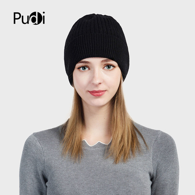 Pudi HK703 THE NEW women knitted hat girls winter beanies caps skullies navy  blue women s winter hats 354698aed5e