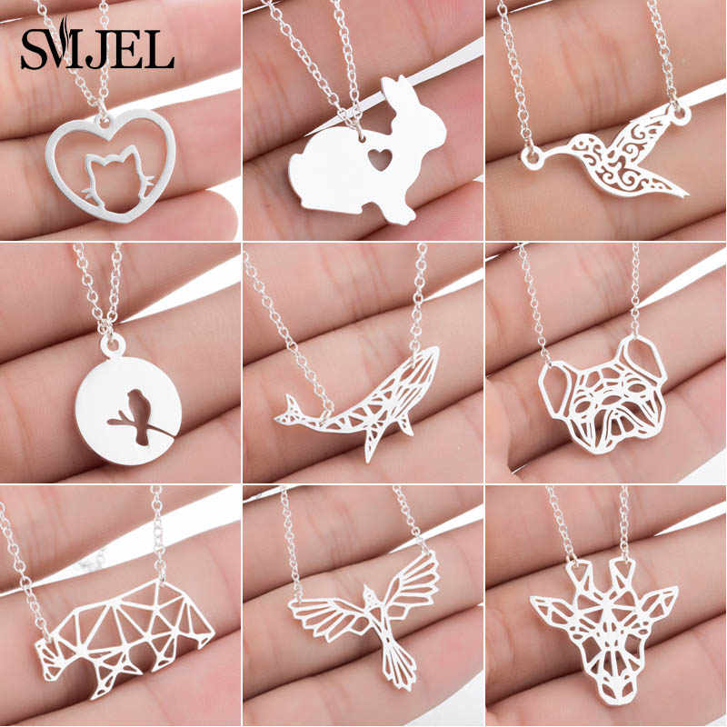SMJEL Boho Mouse Mickey Necklaces for Women Girls Geometric Cat Dog Statement Necklaces Jewelry Animal Accessories Gifts cbijoux