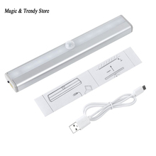 10 LED IR Infrared Motion Detector Wireless Sensor Lighting Closet Night USB Battery Recharging Lamp Cabinet Wardrobe Light