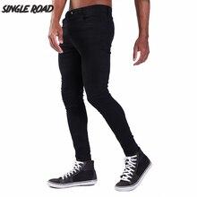 Simple route Super Skinny Jeans hommes 2019 nouveau hommes noir Biker Jeans Streetwear Stretch Denim pantalon Slim Fit Homme Jeans marque Homme