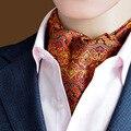 New Arrival Men Fashion Polka Jacquard Wedding Cravat Ascot Scrunch Self British Gentleman Silk Neck Tie High Quality