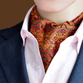 Nuevos Hombres de la Llegada de Polca de la Manera Jacquard Boda Scrunch Cravat Ascot Auto Británico Caballero Corbata de Seda de Alta Calidad