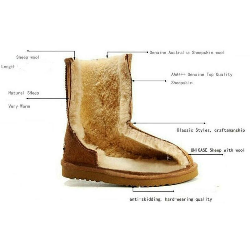 Nouvelle Véritable de Neige En Cuir Bottes D'hiver UG Femmes Bottes Australie Femmes Daim Véritable Fourrure De Laine Rayé Hiver Chaud Chaussures de Haute qualité