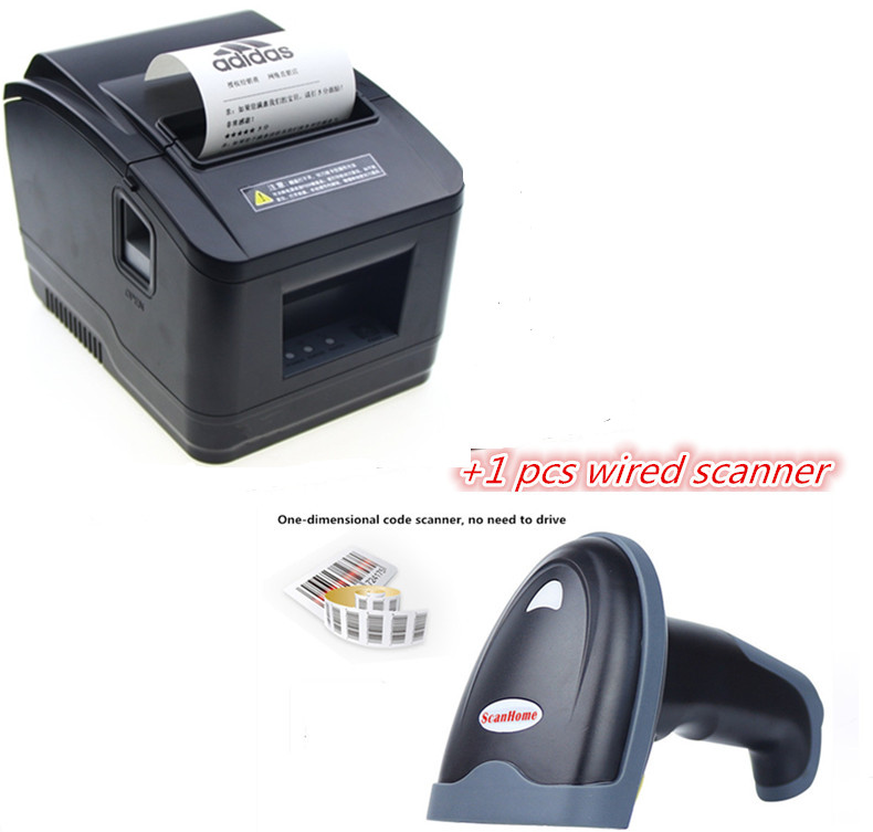 1wired scanner+wholesale brand new High quality pos printer 80mm thermal receipt Small ticket barcode printer automatic cutting image