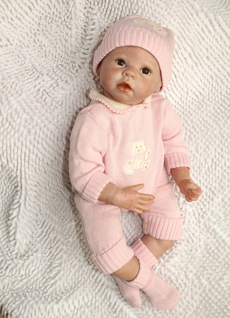 Wholesale 22 Inches Silicone Reborn Baby Doll For Boys Toys Safe Hobbies Real Life Baby Dolls Brown Eyes Special Toys