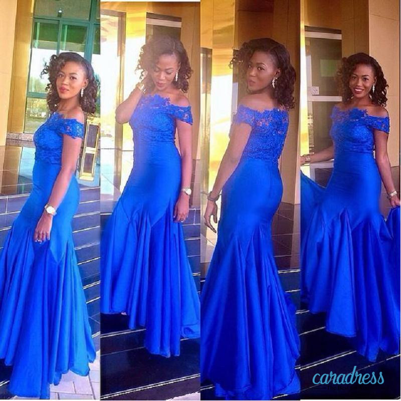 2017 New Royal Blue South African Custom Made Evening Dresses Arabic Off Shoulders Lace Appliques Aso Ebi Prom Party Gowns Party Gown Evening Dress Arabicdress Arabic Aliexpress,Vintage Boat Neck Wedding Dress