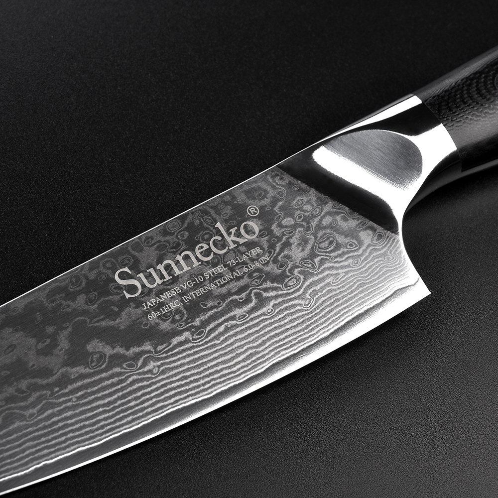 SUNNECKO Damascus 6 5 39 39 Chef Knife 5 39 39 Utility Knife Japanese VG10 Steel Kitchen Knives G10 Handle Sharp Meat Fruit Cutter Tool in Knife Sets from Home amp Garden