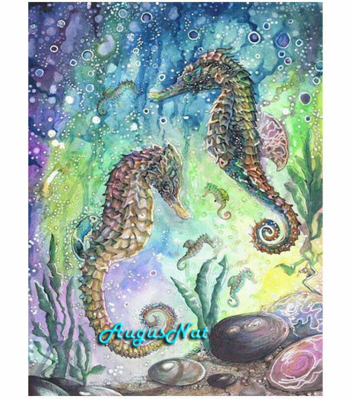 471232537c sea horse diamond painting full square hippocampus wall art diamond dotz kits  diamond embroidery decor gempasted