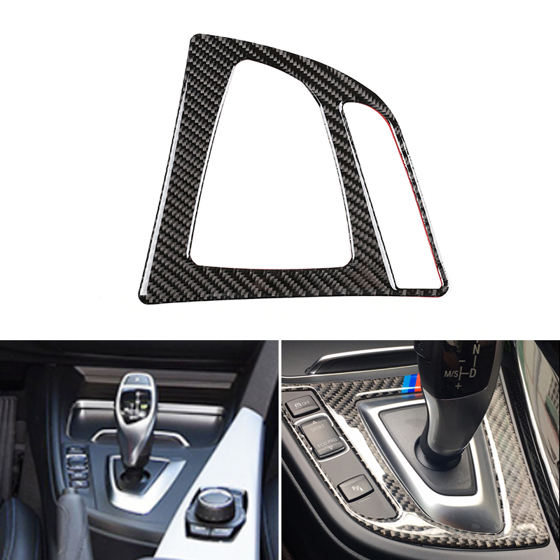Real Carbon Fiber Car Interior Gear Shift Control Panel Cover Trim For BMW <font><b>3</b></font> 4 Series F30 F32 2013 2014 2015 <font><b>2016</b></font> 2017 2018 image