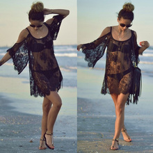 Beach Dress Sexy Strap Sheer Floral Lace Embroidered Crochet Summer Dresses