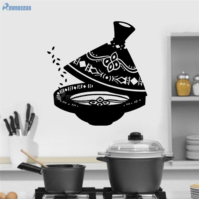 Rétro vintage Teaware décor à la maison Art thé ustensiles cuisine Stickers muraux vinyle amovible décoration de la maison bricolage cuisine muraux D588