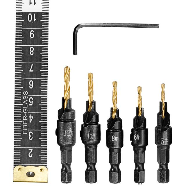 Brocas para taladrar orificios de piloto para tamaños de tornillos #5 #6 #8 #10 #12