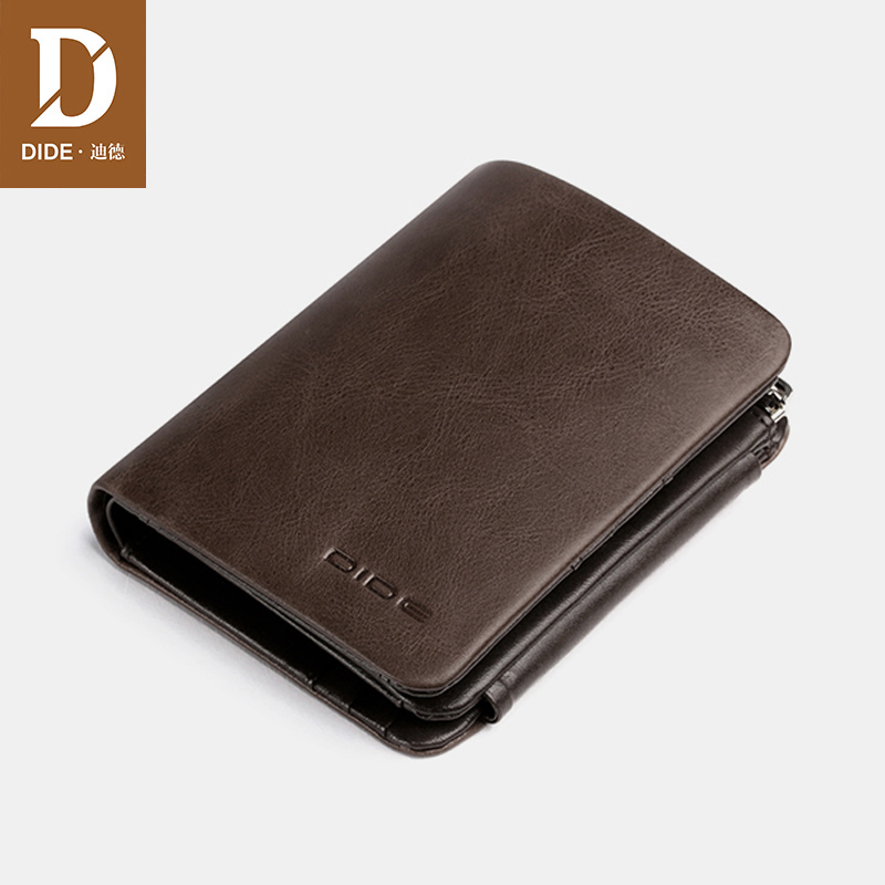 DIDE Men Wallet Perse Card-Holder Coin-Purse Money-Bag Multifunction Small Male Genuine-Leather