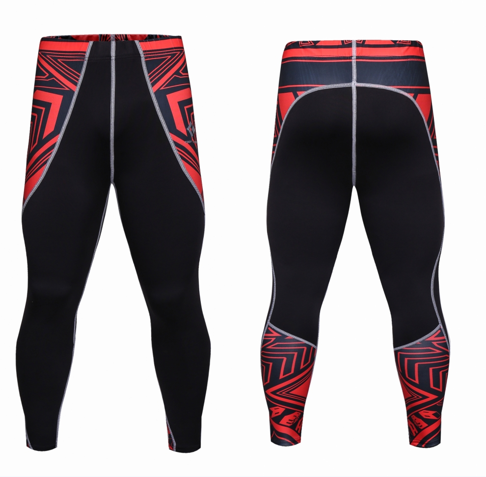 2017 Mens Splicing Compression Pants Skinny Tights Fitness Men Leggings Bodybuilding Quick Dry Casual Trousers Brand Clothing
