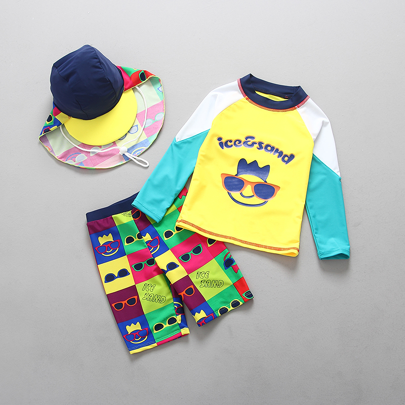 Swimsuits For Children Two Pieces Rash Guards Boys Swimwear Sun Protection Long Sleeved Rashguard Swimming Trunks Bathing Suits