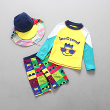 Swimsuits Rashguard Boys Swimwear Long-Sleeved Two-Pieces Children for Sun-Protection