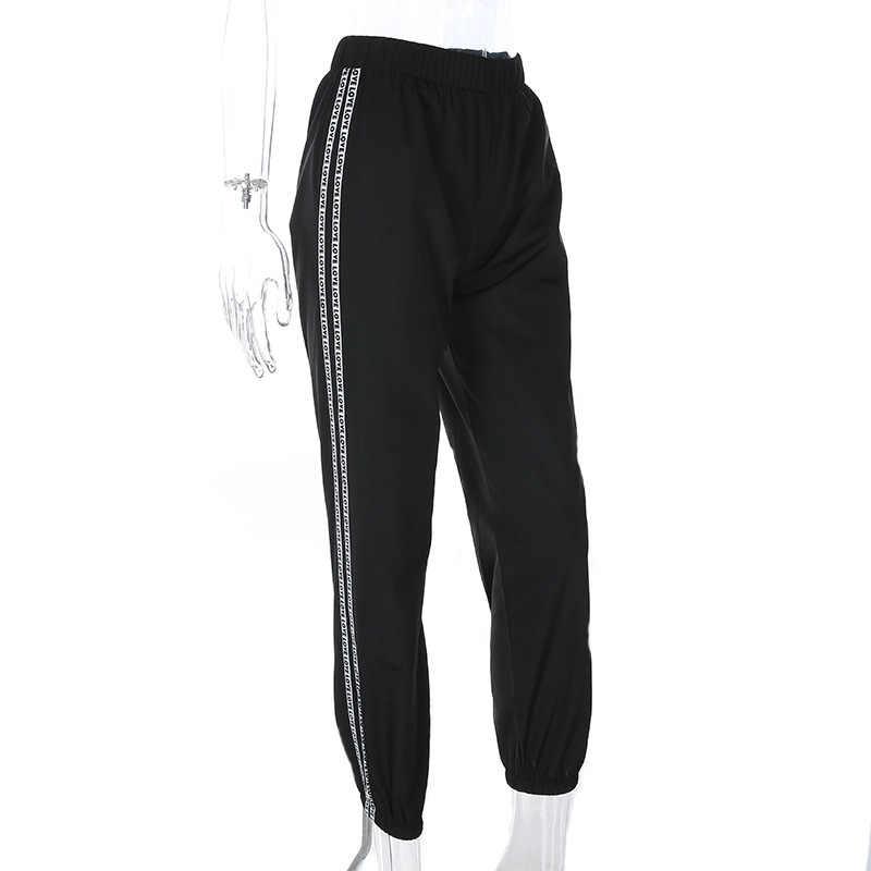 HOUZHOU Fashion Side Stripe Letter Pants Women 2019 Summer High Waist Pencil Streetwear Cargo Jogger Harajuku Sweatpants